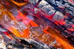 Helhitte, brandend brandhout, vlam royalty-vrije stock afbeelding