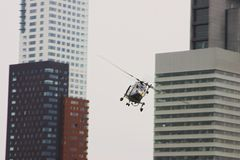 Heli. Flying through buildings Royalty Free Stock Photos