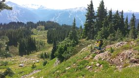 Heli drop biking on Rainbow Mountain. In Whistler bike park, British Columbia Canada Royalty Free Stock Photos