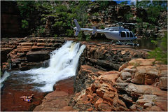 Heli Picnic in the Kimberley Stock Photo