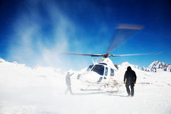 Heli-skiô stock foto's