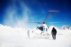 Heli-Skifahren stockfotos