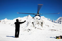 Heli-Skiing. Heli Skiing Helicopter, Mont Blanc ski resort, France, Europe Stock Photo