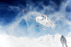 Heli-Skiing. Heli Skiing Helicopter, Mont Blanc ski resort, France, Europe Royalty Free Stock Images