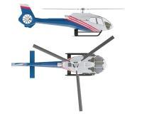 Helicóptero aislado Vista delantera superior y Fotografía de archivo