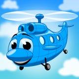 Helicóptero azul dos desenhos animados no céu com nuvens ilustração stock