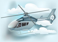 Helicóptero com backgroud da nuvem Fotografia de Stock Royalty Free