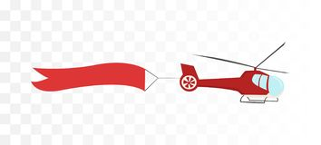 Helicóptero com bandeira da fita ilustração stock