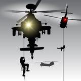 Helicóptero com tropas da aterrissagem Imagens de Stock Royalty Free