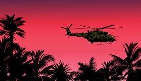 Helicóptero contra la puesta del sol ilustración del vector