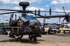 Helicóptero de ataque de Apache en el salón aeronáutico 2018 de Farnborough imágenes de archivo libres de regalías