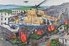 Helicóptero de ataque Mi-24B do russo Fotografia de Stock