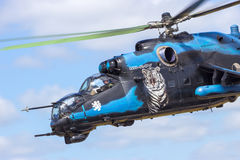 Helicóptero de ataque Mi-24 traseiro Foto de Stock