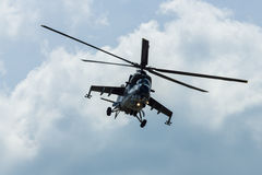 Helicóptero de ataque mil. Mi-24 traseiro Imagem de Stock