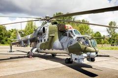 Helicóptero de ataque trasero checo de la fuerza aérea Mi-24 Foto de archivo libre de regalías