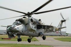 Helicóptero de ataque trasero Mi-24 Foto de archivo libre de regalías