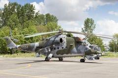 Helicóptero de ataque trasero Mi-24 Fotos de archivo libres de regalías