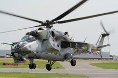 Helicóptero de ataque trasero Mi-24 Imágenes de archivo libres de regalías