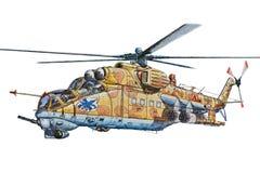 Helicóptero de combate en un fondo blanco fotografía de archivo libre de regalías