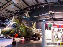 Helicóptero de HKP 4B Boeing-Vertol KV-107 en museo de la fuerza aérea de Linkoping Imágenes de archivo libres de regalías