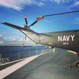 Helicóptero de la marina de guerra en el punto de los patriotas Fotos de archivo libres de regalías
