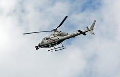 Helicóptero de las noticias del cielo Fotografía de archivo