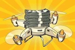 Helicóptero del abejón con los paquetes de dinero stock de ilustración