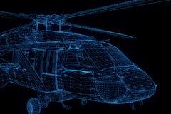 Helicóptero del holograma de Wireframe en el movimiento Representación agradable 3D Fotos de archivo