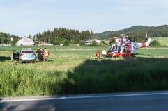 Helicóptero derecho del rescate Fotografía de archivo