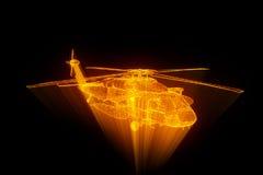 Helicóptero do holograma de Wireframe no movimento Rendição 3D agradável Fotografia de Stock