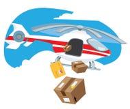Helicóptero do voo que entrega caixas e pacotes da caixa Ilustração Stock
