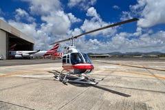Helicóptero en Mauricio Foto de archivo