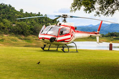 Helicóptero en un campo de hierba verde Foto de archivo