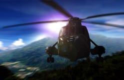 Helicóptero en una misión de rescate en una montaña stock de ilustración