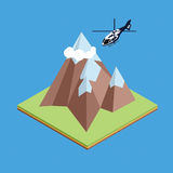 Helicóptero isométrico en montaña Stock de ilustración