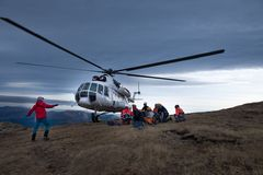 Helicóptero MI 8 MTV 1 en Transilvania Foto de archivo libre de regalías