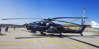 Helicóptero militar de Gidroaviasalon 2014 Foto de archivo