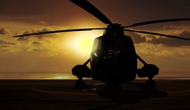 Helicóptero militar en la nave del portador Fotografía de archivo libre de regalías