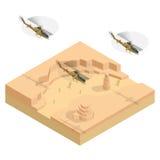 Helicóptero militar isométrico sobre el desierto Ejemplo plano del vector 3d ilustración del vector