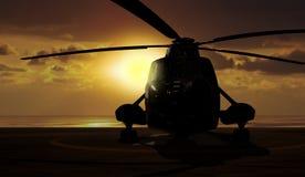 Helicóptero militar no navio do portador Fotografia de Stock Royalty Free