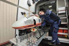 Helicóptero sin tripulación, radiación Imágenes de archivo libres de regalías