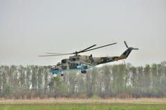 Helicóptero ucraniano de la fuerza aérea Mi-24 Foto de archivo