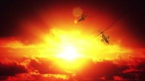 Helicópteros contra puesta del sol stock de ilustración