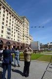 Helicópteros de ataque Mi-35M durante um ensaio da parada Foto de Stock Royalty Free