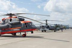 Helicópteros militares do russo na exposição internacional Fotos de Stock Royalty Free