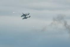 Helicópteros militares MI-24 Rusia Foto de archivo