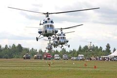 Helicópteros na configuração fotos de stock