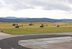 Helicópteros na estação aérea Foto de Stock Royalty Free