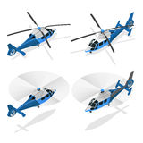 Helicópteros no branco - ilustração isométrica do vetor 3d liso Fotografia de Stock