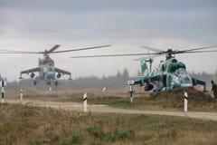 Helicópteros ucranianos del ejército Imágenes de archivo libres de regalías